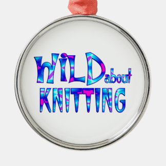 Wild About Knitting Metal Ornament