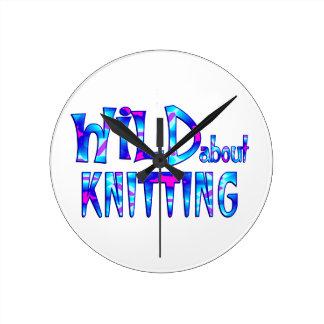 Wild About Knitting Round Clock