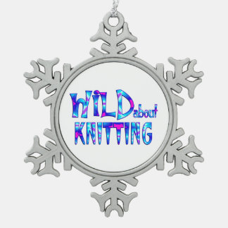 Wild About Knitting Snowflake Pewter Christmas Ornament