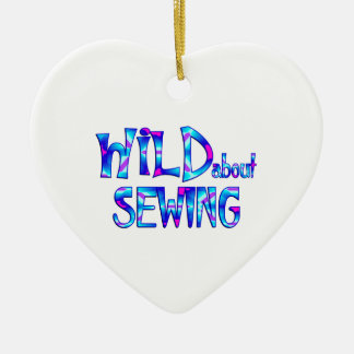Wild About Sewing Ceramic Ornament