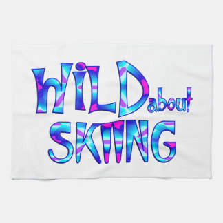 Wild About Skiing Kitchen Towel