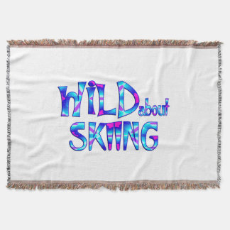 Wild About Skiing Throw Blanket