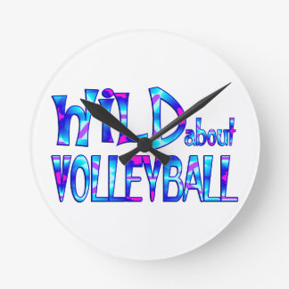 Wild About Volleyball Round Clock