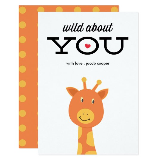 Wild about you classroom valentine's day card