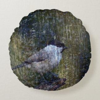 Wild  Abstract Chickadee Round Pillow
