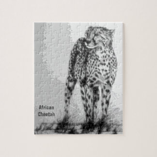 Wild African Cheetah, Forever Free, Retro Design Jigsaw Puzzle