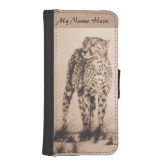 Wild African Cheetah, Forever Free, Retro Design Phone Wallet