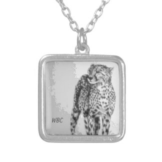 Wild African Cheetah, Forever Free, Retro Design Silver Plated Necklace