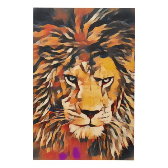 Wild African Lion Cubist Wildlife Painting Wood Wall Decor