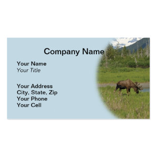 Wild Alaskan Moose Business Card - Light Blue