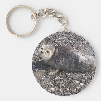 wild alaskan seal basic round button keychain