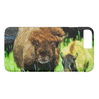 Wild American Bison With Calf Abstract iPhone 7 Plus Case