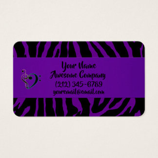 Wild and Crazy Purple Zebra Exotic Animal Print Business Card