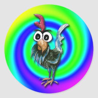 Wild and Crazy Rooster Sticker