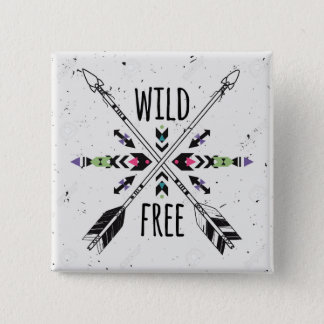 Wild and Free 2 Inch Square Button
