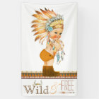 Wild and Free Boys Tribal Baby Shower Banner