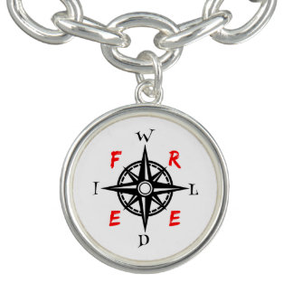 Wild And Free Compass Typography Charm Bracelets