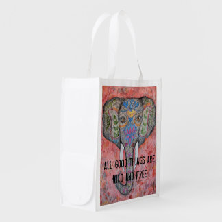Wild and Free Elephant Art Reusable Bag