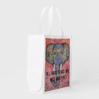 Wild and Free Elephant Watercolor Art Reusable Bag