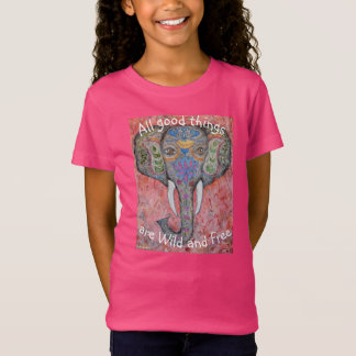 Wild and Free Elephant Watercolor Girls Shirt