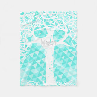 Wild and Free Mint Abstract Triangle Pattern Fleece Blanket