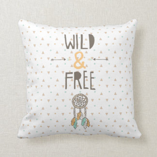 """Wild and Free"" Tribal Throw Pillow"