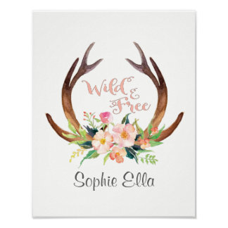 Wild and Free Watercolor Deer Antler and Flower Poster