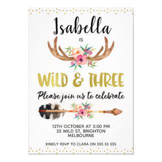 Wild And Three Antlers 3rd Birthday Invitation