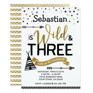 Wild and Three Birthday Invitation