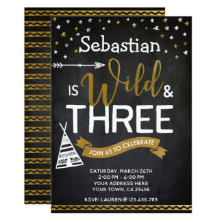 Wild and Three Birthday Invitation Chalkboard