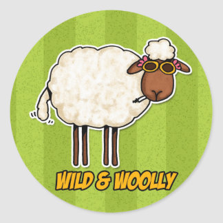 wild and woolly (smoking version) classic round sticker