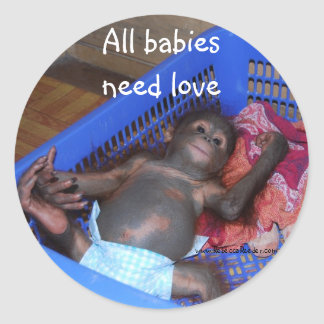 Wild Animal Baby Rescue Classic Round Sticker