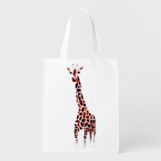 Wild Animal Giraffe Reusable Grocery Bags