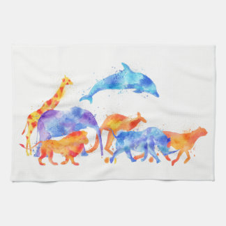 Wild Animal Group Colorful Watercolor Kitchen Towel