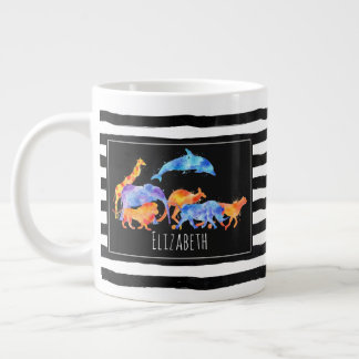 Wild Animal Herd Colorful Watercolor Large Coffee Mug