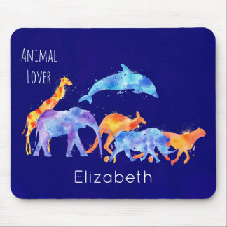 Wild Animal Herd Colorful Watercolor Mouse Pad