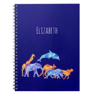 Wild Animal Herd Colorful Watercolor Notebook