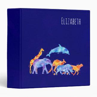 Wild Animal Herd Colorful Watercolor Vinyl Binder