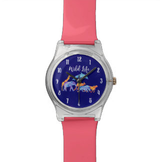 Wild Animal Herd Colorful Watercolor Watch