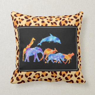 Wild Animal Herd  On Leopard Print Pattern Throw Pillow