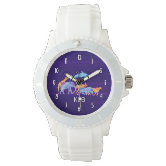 Wild Animal Herd on Purple Abstract Monogram Watch