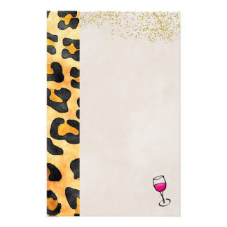Wild Animal Pattern and Wine Customized Stationery