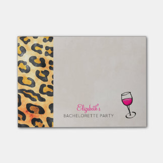Wild Animal Print and Wine Bachelorette Party Post-it® Notes