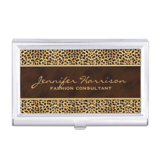 Wild Animal Print Cheetah with Name Business Card Holder