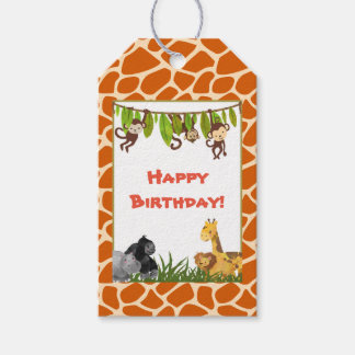 Wild Animal Safari Jungle Theme Happy Birthday Gift Tags
