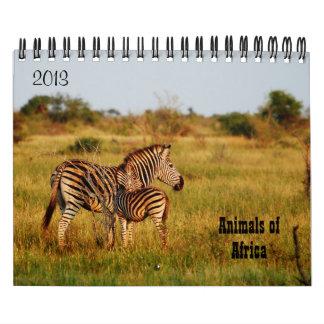 Wild animals Africa safari 2013 Wall Calendars