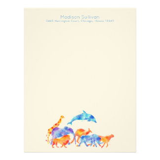Wild Animals in Watercolor Running Together Letterhead