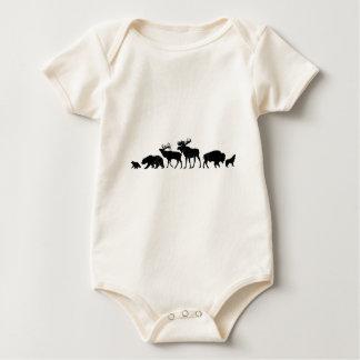 Wild Animals of Yellowstone Baby Bodysuit