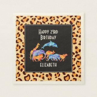 Wild Animals on a Leopard Print Pattern Birthday Paper Napkins
