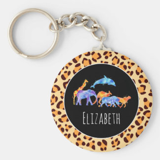 Wild Animals on an Exotic Leopard Print Pattern Keychain